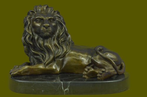 ClHot Cast Large Relaxed Lion Bronze Bookend Book End Sculpture Lost Wax Deal