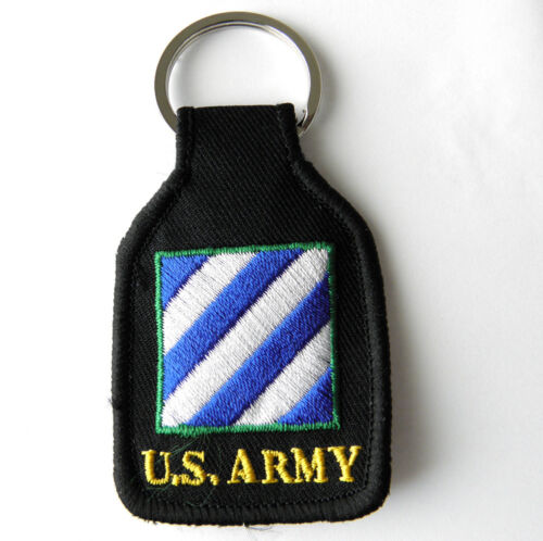3RD INFANTRY DIVISION   US ARMY  BROWN  Embroidered Key Fob Ring