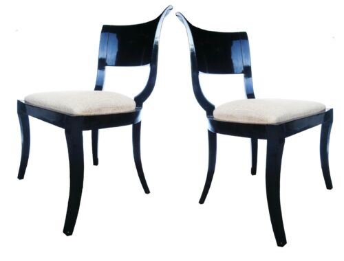 PAIR ITALIAN NEOCLASSIC DECO BLACK PIANO LACQUER OCCASIONAL KLISMOS SIDE CHAIRS