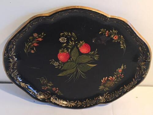 """Antique TOLEWARE TRAY - Hand Painted Tole Ware - 14"""" x 11"""", Signed, Noank CT."""