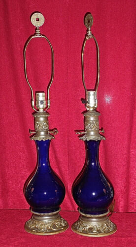 19th Century Pair French Brass Mounted Cobalt Blue Porcelain Oil Lamps w Shades