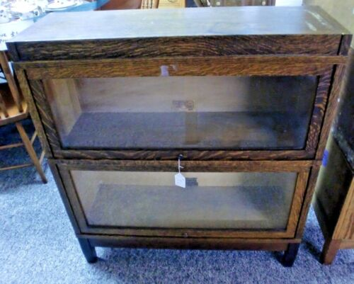 Oak Globe Wernicke 2 Stack Barrister Bookcase with Top and Base