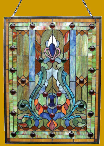 """Victorian Tiffany Style Stained Glass Window Panel 19"""" X 25"""" LAST ONE THIS PRICE"""