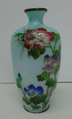 Antique Japanese Cloisonne Ginbari Vase Peonies Meiji Period Signed Silver Wires