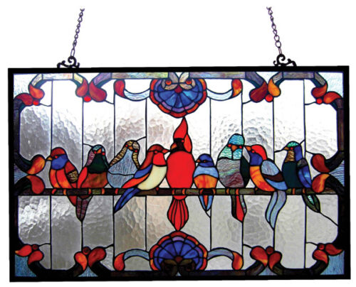 "Tiffany Style Singing Birds Stained Glass Window Panel 32"" Long x 20"" High"