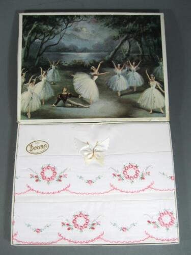 Shabby vintage floral pattern pillow slip cases c/w butterfly bow x 2 MIB Dorna