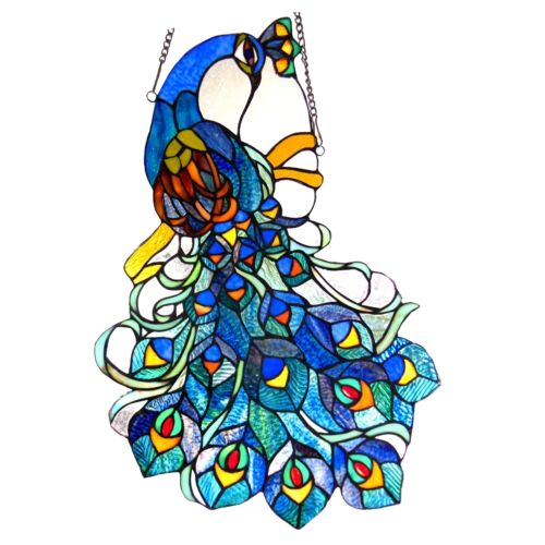 Peacock Design Tiffany Style Stained Glass Window Panel   ~LAST ONE THIS PRICE~