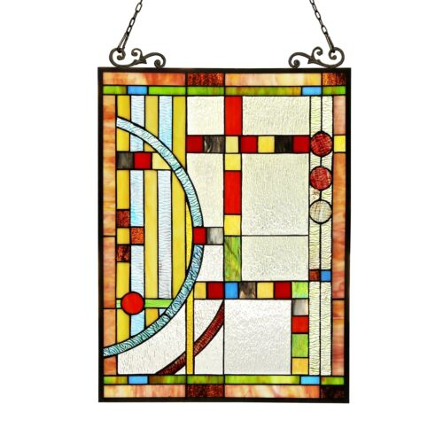 """PAIR Stained Glass Tiffany Style Window Panels Contemporary Design 17.5"""" x 25"""""""