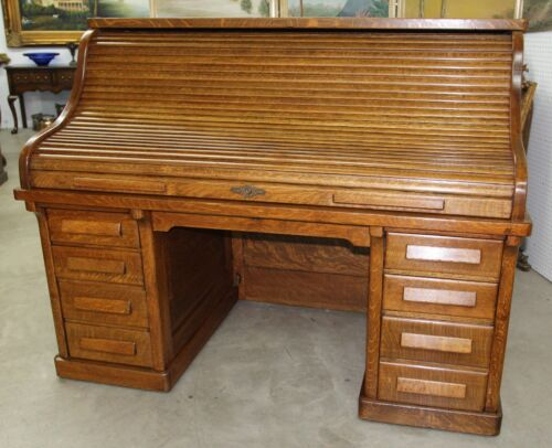 "American Antique 66"" Golden Oak Rolltop Desk Dorsey Printing Co Dallas Tx C1904"