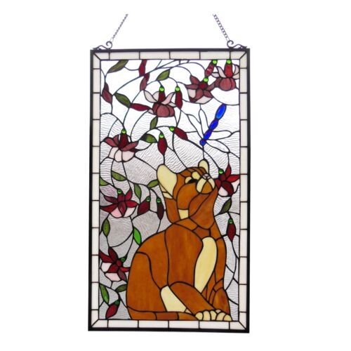 PAIR Handcrafted Cat & Dragonfly Tiffany Style Stained Glass Window Panels