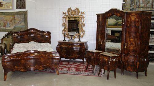 Antique Country French Bombay Burl Walnut Five Piece Bedroom Set Queen Bed 1890
