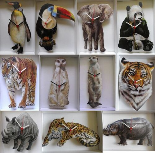 WORLD WIDELIFE WALL CLOCK,TIGER, MEERKAT ETC.NEW.11 DESIGNS TO CHOOSE FROM.