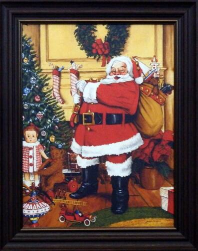 """Joeseph Holodook """" I Never get Tired"""" Santa with his bag of gifts Framed Canvas"""