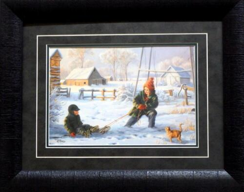 Mary Pettis Litte Brother Farm Sled Print-Framed 19 x 15