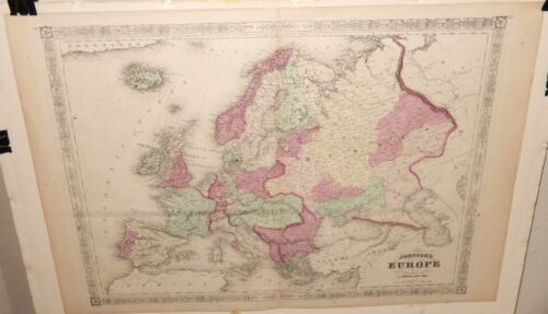 JOHNSON EUROPE ORIGINAL MAP PUBLISHED IN 1864 BY A.J.JOHNSON