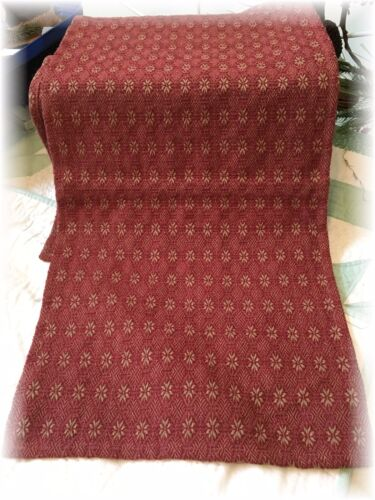 "Primitive Style Woven Runner Cranberry Tan Farmhouse 15"" x 32 Coverlet Christmas"