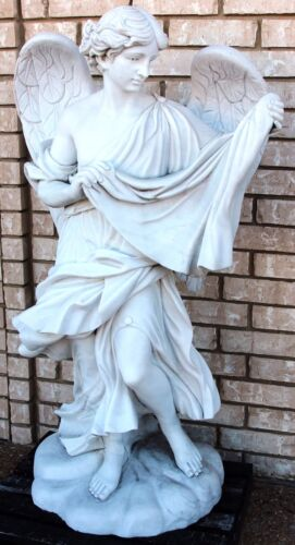 Lovely Carrara One Piece Marble  Angel with Robe Hand Carved Large Wings