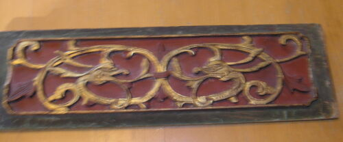 Very Early Antique Chinese Hand Carved Gilt Wood Panel Scholar Art 3D Dragons