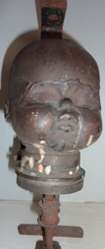Vintage Industrial Copper Large Doll Head Mold Steampunk Industrial Decor