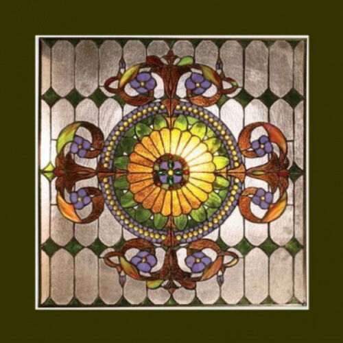 """Window Panel Victorian Design Tiffany Style Stained Glass 25"""" Wide x 25"""" High"""