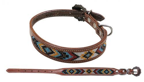 Showman Couture Yellow Red White Diamond Beaded Pattern Inlay Leather Dog Collar