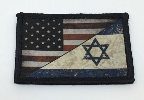 USA Israel Flag Morale Patch Tactical Military Army Badge Hook Army - 48824