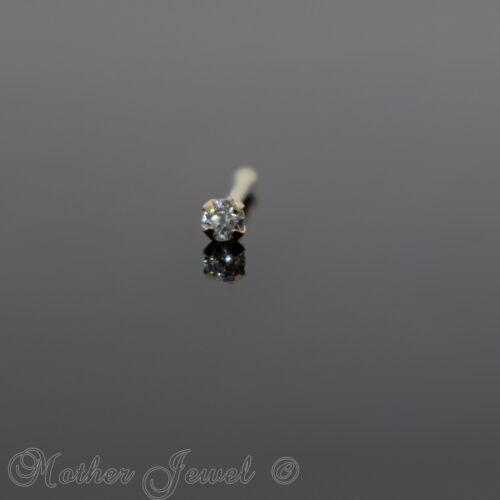 20G REAL 9K SOLID YELLOW GOLD ROUND 1.8mm SIMULATED DIAMOND NOSE STUD PIN RING