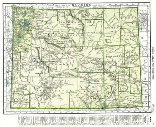 1947 Vintage WYOMING MAP Antique Map of Wyoming State Map Gallery Wall Art #5660