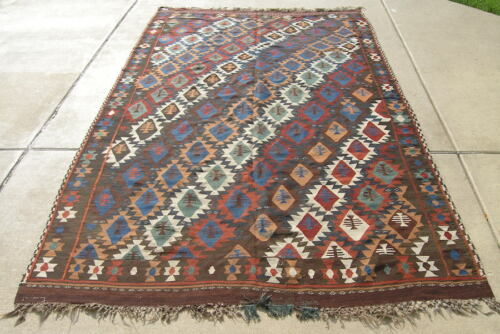 """Antique Caucasian Wool on Wool Flat Woven HAnd Woven Colorful Kilim 71x130"""""""