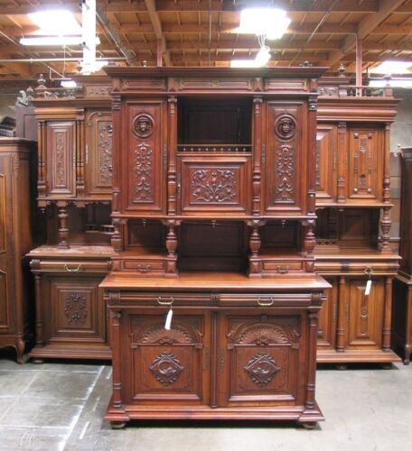 Antique Carved French Renaissance Henry II Buffet Sideboard Cabinet