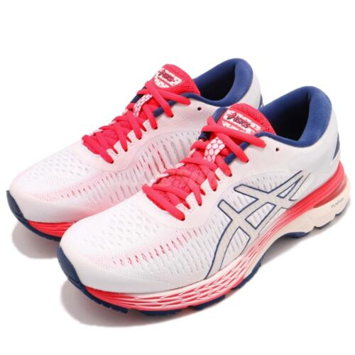 0091cf6dd Asics Gel-Kayano 25 White Pink Blue Womens Running Shoes Trainers  1012A02-6100