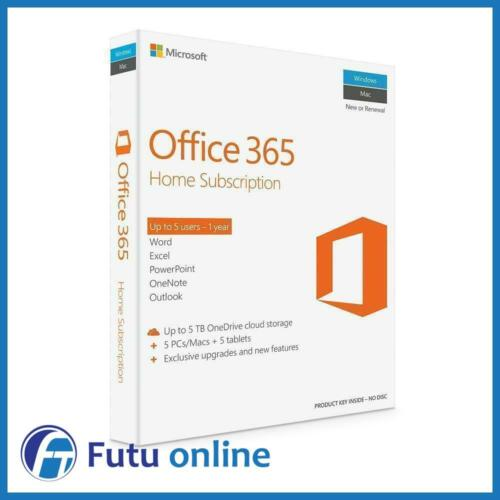 Microsoft Office 365 Home 5 Users 1 Year Subscription English Subscription Word