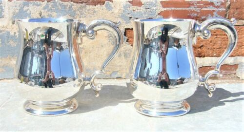 ELEGANT VINTAGE SET 2 SILVER PLATED ENGLISH TANKARDS BALUSTER VICTORIAN STYLE