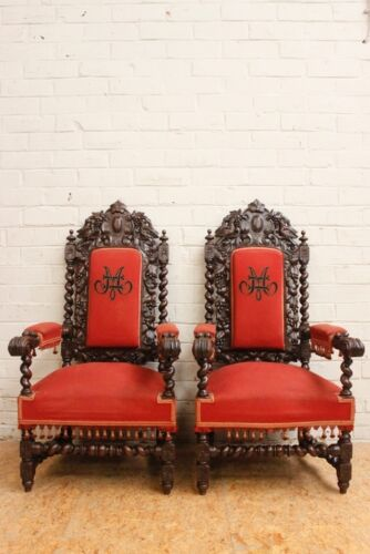 Pair of Antique French Renaissance Hunt Arm Carved Chairs