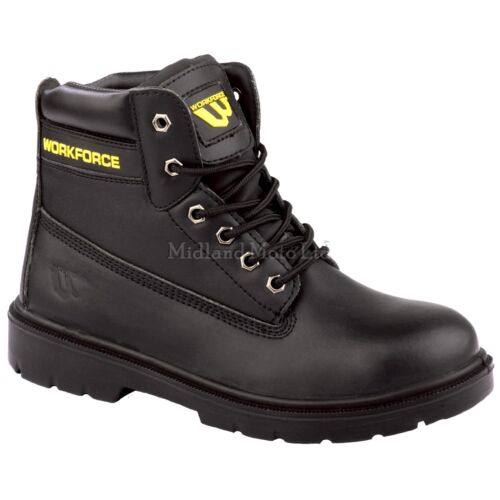 Workforce Safety Steel Toe Cap Black Leather Boot With Midsole Protection WF302