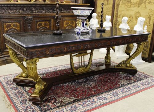 Antique Gold Neoclassical French Table/Desk Circa1890 Horn of Plenty Granite Top