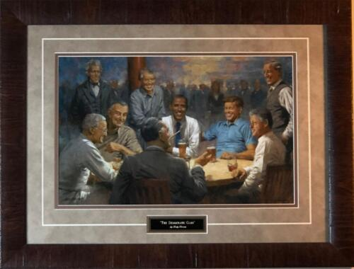 "Andy Thomas The Democratic Club Political Signed Art Print-Framed 25"" x 19"""