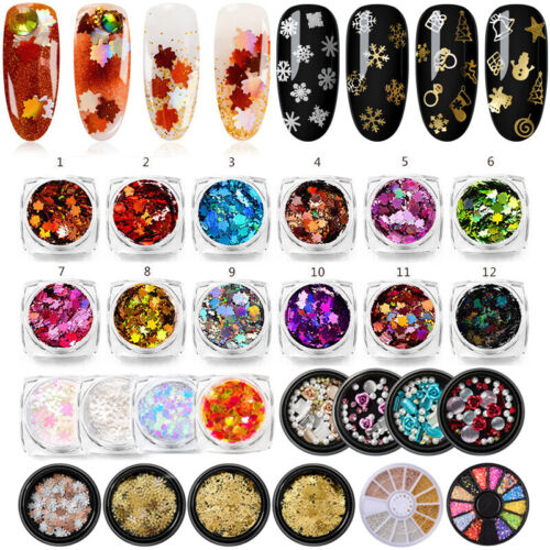 1g Nail Art Maple Leaf Sequins Laser Nails Glitter Thin Stickers DIY Decorations