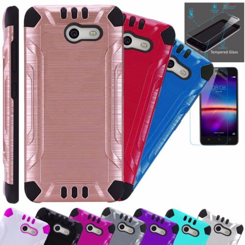 For Alcatel TCL LX1 Phone Case + TEMPERED GLASS Guard Hybrid Cover Solid Combat
