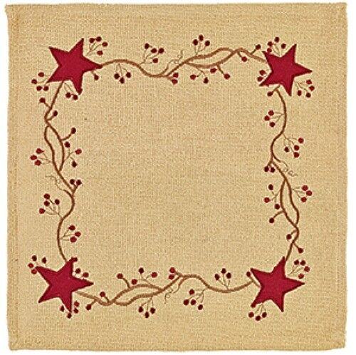 """New Primitive Rustic Cabin RED STAR BERRY VINE Burlap Doily Candle Mat 14"""""""