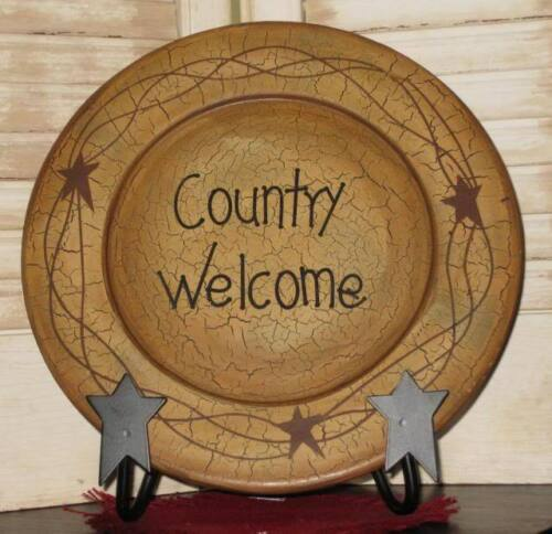"""PRIMITIVE 9 3/4"""" STARS & VINE """" COUNTRY WELCOME """" PLATE- ONLY"""