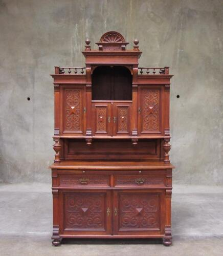 Antique German Heavy Oak Renaissance Style Sideboard Buffet Cabinet