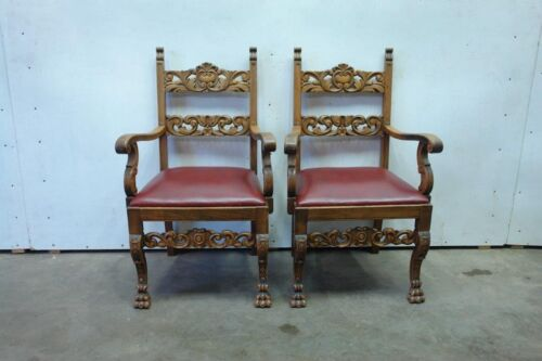 Pair Of Large Carved German Arm Chairs - Carved Backs Paw Feet