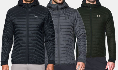 NEW Under Armour ColdGear Reactor Hybrid Hooded Jacket UA Mens Black-Green-Grey