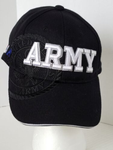 USA United States Army Black Ball Cap Hat with Flag on Side Adjustable MilitaryArmy - 66529