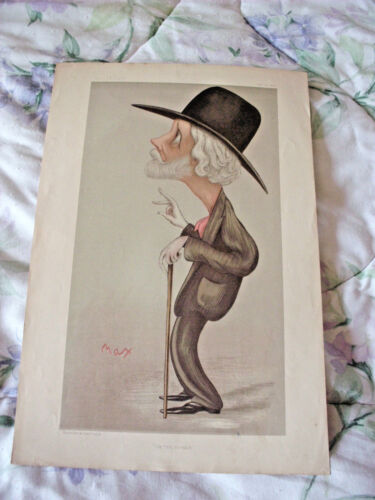 """1896 VANITY FAIR OUR FIRST NOVELIST LITHOGRAPH BY """"MAX"""" VINCENT BROOKS DAY & SON"""
