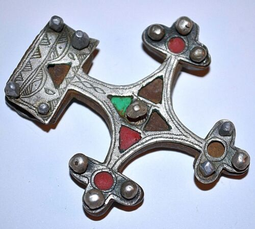 Rare Antique Tuareg Boghdad Leather & Metal Riveted Cross Pendant Mali, Africa