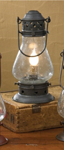 New Primitive Country Colonial BLACK ONION ELECTRIC LANTERN Hanging Oil Lamp