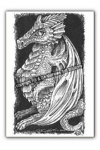 """© ART - Ltd.Ed """" Dragon Drawing """"  ACEO ATC Artist collector trading card by Di"""