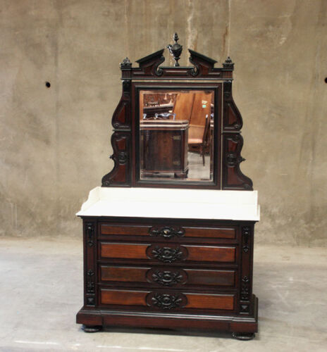 Large Antique French Rosewood Renaissance Carved Marble Top Commode